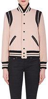 Saint Laurent Women's Leather-Trim Virgin-Wool-Blend Varsity Jacket