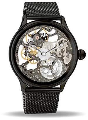 Davis 0899MB - Mens Skeleton Watch Black Hand Wind Mechanical Movement Mesh Milanese Strap
