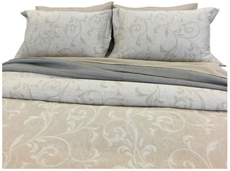 Natural Comfort Yue Home Textile Yarn-Dyed Linen Cotton Duvet Cover Set, Dune, Queen