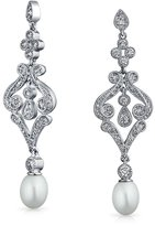 Bling Jewelry CZ Freshwater Cultured Pearl Chandelier Earrings Rhodium Plated