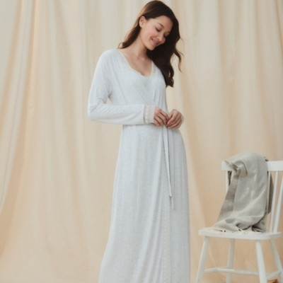 The White Company Lace-Trim Maxi Robe, Cloud Marl, Extra Small