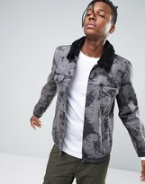 Asos Bleach Splat Denim Jacket with Fleece Collar In Gray