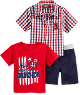 Nannette 3-Pc. Graphic-Print T-Shirt, Shirt & Shorts Set, Baby Boys (0-24 months)