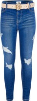River Island Girls bright blue ripped Molly belted jeans