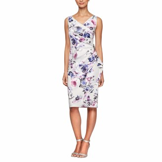 Alex Evenings Women's Short Crepe Dress with Side Ruched Waist (Petite and Regular Sizes)