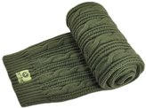 Man Of Aran Men's Cable Knit Scarf, Olive Colour