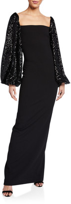 SOLACE London Greta Square-Neck Maxi Dress w/ Sequined Sleeves