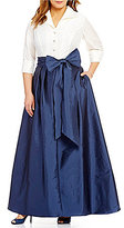 Adrianna Papell Plus Jeweled-Button Taffeta Ballgown