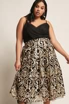 Forever 21 FOREVER 21+ Plus Size ETA High-Waist Baroque Mesh Overlay Midi Skirt