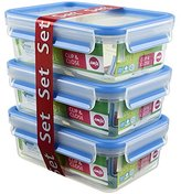 Emsa 508558 Clip & Close 3-piece set of food storage containers, 1 litre, transparent/blue