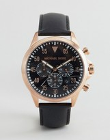Michael Kors MK8535 Gage Chronograph Leather Watch In Black