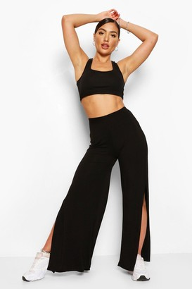 boohoo Super Wide Leg Side Split Jersey Trousers