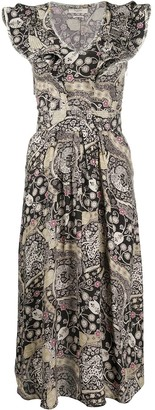 Etoile Isabel Marant Abstract-Print Ruffled-Neck Dress