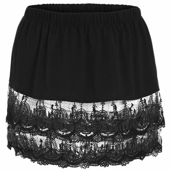 Mini Skirt Shirt Extenders for Legging Plus Size,Tiered Skirt Short Half Slip Skirt Stripe Extender with Lace Underskirt