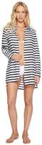 Lauren Ralph Lauren Stripe Crushed Cotton Camp Shirt Cover-Up Women's Swimwear