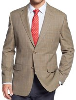 Tasso Elba Mens Houndstooth Notch Collar Two-Button Blazer Tan 40S