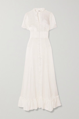 SLEEPING WITH JACQUES The Mandy Ruffled Silk-satin Maxi Dress - White