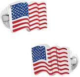 Ox & Bull Trading Co. Men's Sterling Silver Waving American Flag Cufflinks
