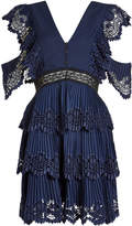 Self-Portrait Pleated Dress with Embroidery