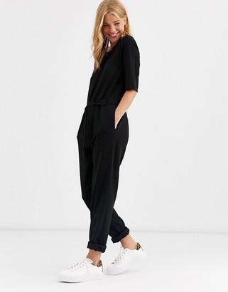JDY tie waist 3/4 length sleeve jumpsuit-Black