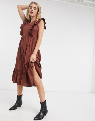 Vero Moda ruffle panelled midi dress in brown