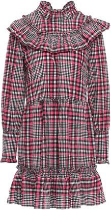 Ganni Ruffled Checked Cotton-blend Seersucker Mini Dress