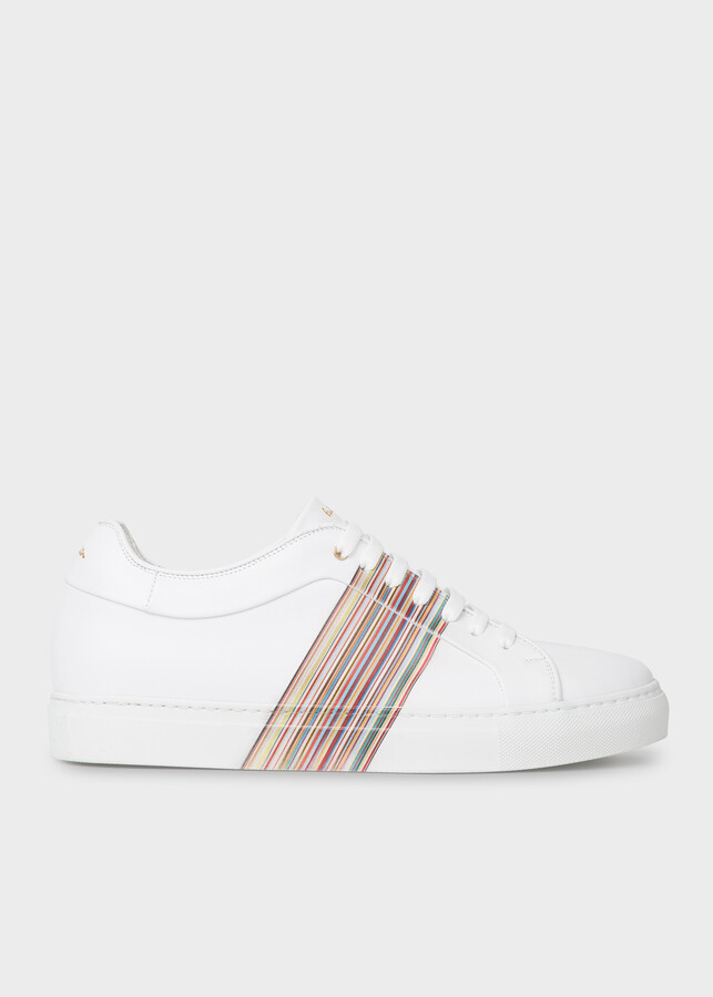 Paul Smith Men's White Leather 'Basso' Sneakers With 'Signature Stripe' Panel