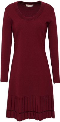 MICHAEL Michael Kors Open Knit-trimmed Pleated Stretch-knit Mini Dress