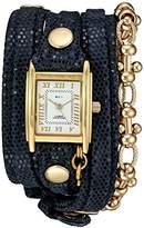 La Mer Women's Quartz Gold-Tone and Leather Watch, Color:Blue (Model: LMCHAINRMV001)