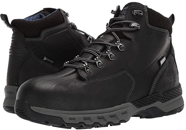 Downdraft 6 Alloy Safety Toe Waterproof (Black Leather) Men's Work Boots