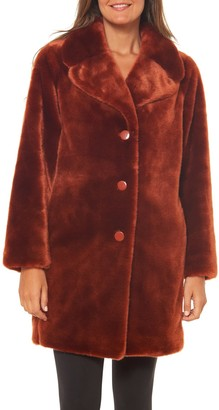 Kate Spade Faux Fur Button Front Coat
