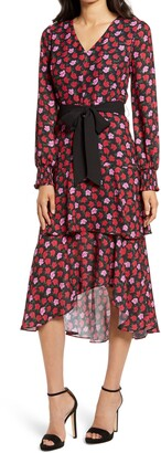 Sam Edelman Poppy Print Long Sleeve High/Low Dress