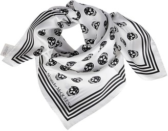 Alexander McQueen White And Black Silk Skull Scarf