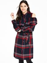 Very Cold Shoulder Frill Shirt Dress