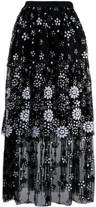 Self-Portrait Deco sequin-embellished midi skirt