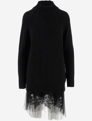 Ermanno Scervino Black Knit Wool Women's Dress