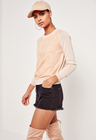 Missguided Nude Faux Suede Panel Sweater