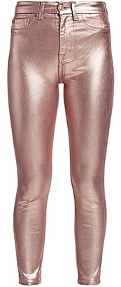 7 For All Mankind High-Rise Metallic Skinny Jeans