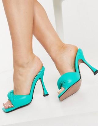 ASOS DESIGN Niki padded twist high heeled mules in green