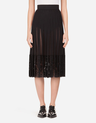 Dolce & Gabbana Long Georgette Skirt With Lace Edgings