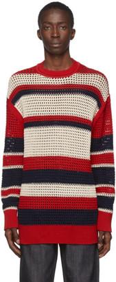 Jil Sanderand Red Knitted Crewneck Sweater