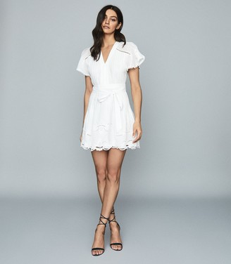 Reiss GEMINA EMBROIDERED MINI DRESS White