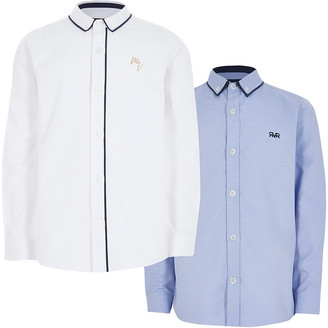 River Island Boys blue and white long sleeve shirt 2 pack