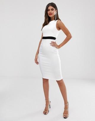 Vesper midi pencil dress in colour block-White