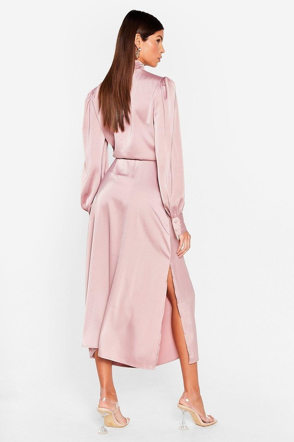 Thumbnail for your product : Nasty Gal Womens Satin High Neck Belted Midi Dress - Black - 4