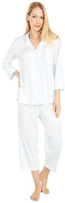 Lauren Ralph Lauren Jersey Knit 3/4 Sleeve Notch Collar Capri Pants Pajama Set (Mint Paisley) Women's Pajama Sets