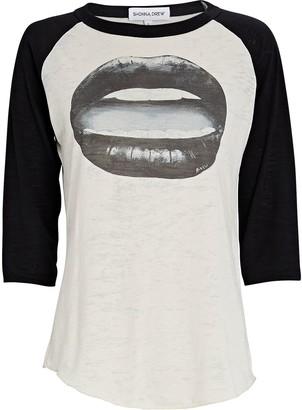 Shonna Drew Gloss Lips Baseball Graphic T-Shirt