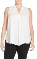 Vince Camuto Plus Size Women's Pleat Front V-Neck Sleeveless Blouse