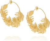 Alex Monroe 22-karat gold-plated feather hoop earrings