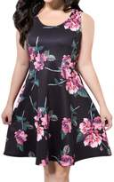 AMZ PLUS Women Casual Sleeveless Floral Short A-line Sundress